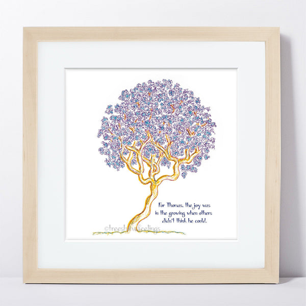 "THOMAS | Framed Print Framed TREES HAVE FEELINGS 8""x8"" print + 1.5"" mat Natural"