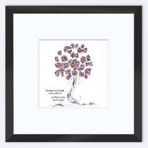 "VERONIQUE | Framed Print Framed TREES HAVE FEELINGS 8""x8"" print + 3.5"" mat Black"