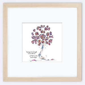 "VERONIQUE | Framed Print Framed TREES HAVE FEELINGS 8""x8"" print + 3.5"" mat Natural"