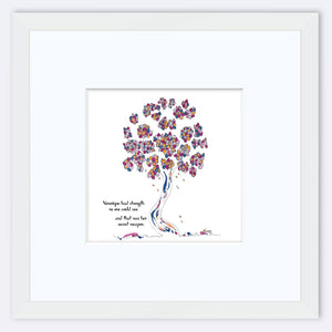 "VERONIQUE | Framed Print Framed TREES HAVE FEELINGS 8""x8"" print + 3.5"" mat White"