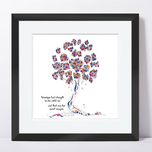 "VERONIQUE | Framed Print Framed TREES HAVE FEELINGS 8""x8"" print + 1.5"" mat Black"