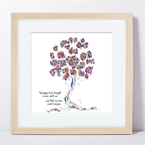 "VERONIQUE | Framed Print Framed TREES HAVE FEELINGS 8""x8"" print + 1.5"" mat Natural"