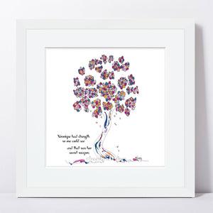 "VERONIQUE | Framed Print Framed TREES HAVE FEELINGS 8""x8"" print + 1.5"" mat White"