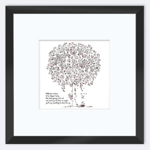 "WILHEMINA | Framed Print Framed TREES HAVE FEELINGS 8""x8"" print + 3.5"" mat Black"