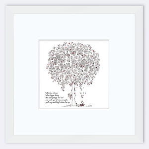 "WILHEMINA | Framed Print Framed TREES HAVE FEELINGS 8""x8"" print + 3.5"" mat White"