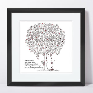 "WILHEMINA | Framed Print Framed TREES HAVE FEELINGS 8""x8"" print + 1.5"" mat Black"