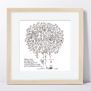 "WILHEMINA | Framed Print Framed TREES HAVE FEELINGS 8""x8"" print + 1.5"" mat Natural"