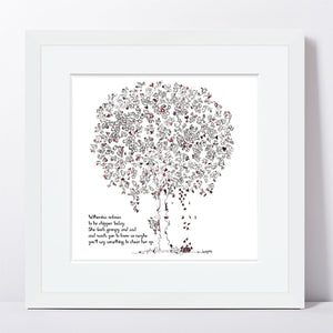 "WILHEMINA | Framed Print Framed TREES HAVE FEELINGS 8""x8"" print + 1.5"" mat White"