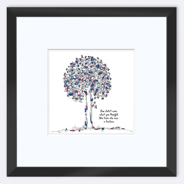 "ZOE | Framed Print Framed TREES HAVE FEELINGS 8""x8"" print + 3.5"" mat Black"