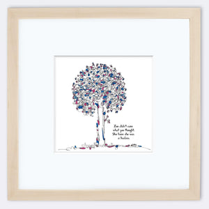 "ZOE | Framed Print Framed TREES HAVE FEELINGS 8""x8"" print + 3.5"" mat Natural"