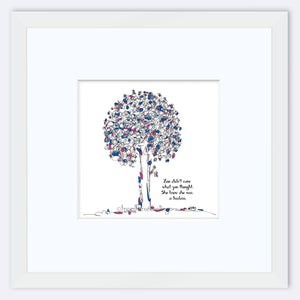 "ZOE | Framed Print Framed TREES HAVE FEELINGS 8""x8"" print + 3.5"" mat White"