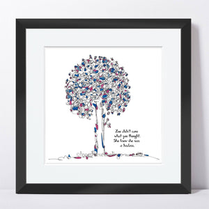 "ZOE | Framed Print Framed TREES HAVE FEELINGS 8""x8"" print + 1.5"" mat Black"