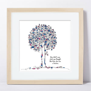 "ZOE | Framed Print Framed TREES HAVE FEELINGS 8""x8"" print + 1.5"" mat Natural"