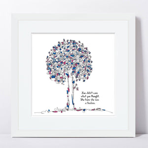 "ZOE | Framed Print Framed TREES HAVE FEELINGS 8""x8"" print + 1.5"" mat White"