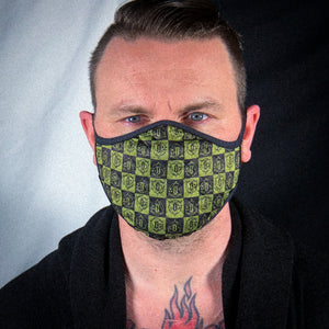 Cloth Facemask: Black/Volt Checkerboard