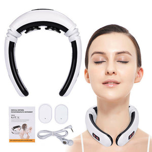 Electric Pulse Back and Neck Massager Far Infrared Heating Pain Relief Tool Health Care Relaxation Intelligent Cervical Massager - Bolsunovskiy