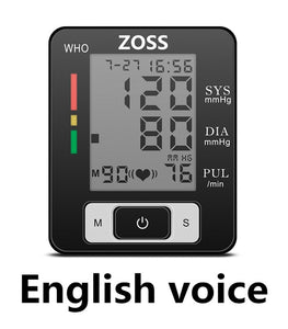 ZOSS English  or  Russian Voice Cuff Wrist  Sphygmomanometer Blood Presure Meter Monitor Heart Rate Pulse Portable Tonometer BP