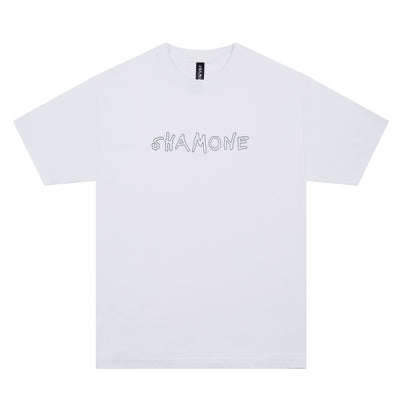 Shamone Outline T-Shirt: White | Shamone | Streetwear Clothing Melbourne