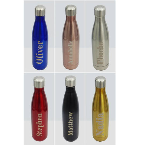 Personalised Stainless Steel Water Bottle- Blue, Silver or Gold - ClothesLabels.UK