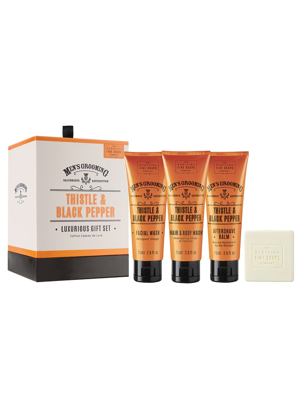 Men's Luxurious Thistle & Black Pepper Gift Set by The Scottish Fine Soaps Company - ClothesLabels.UK