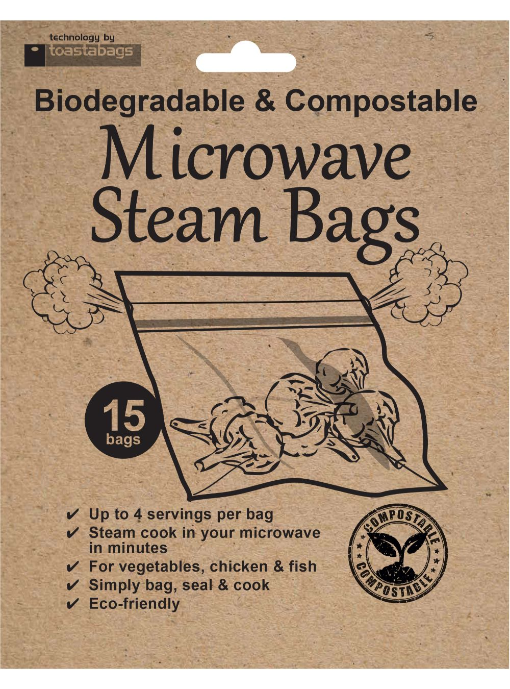 Biodegradeable Microwave steam bags 15 pk - ClothesLabels.UK