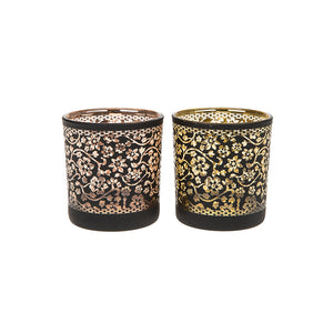 Warm Glow Black Daisy Glass Tealight Holder - ClothesLabels.UK
