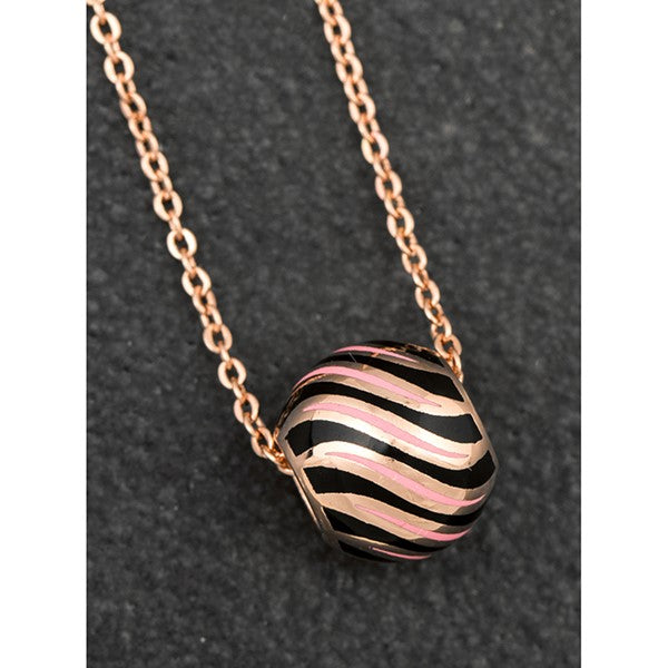 Handpainted Equilibrium Striped Rose Gold Plated Ball Necklace  -  Gift Boxed - ClothesLabels.UK