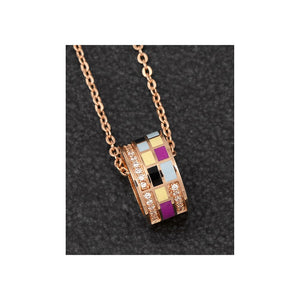 Handpainted Squares Rose Gold Plated Pave Ring Necklace - ClothesLabels.UK