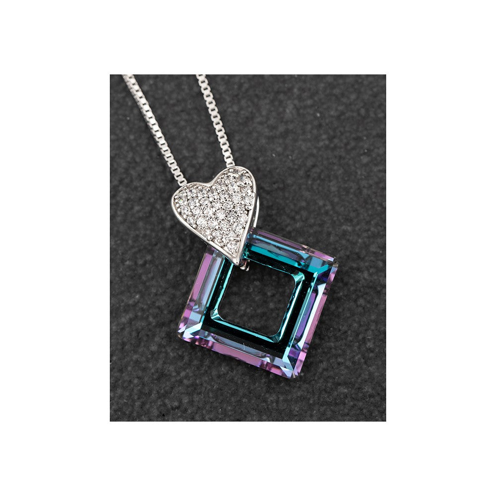 Cubic Zirconia Swarovski Purple Diamond Platinum Plated Necklace by Equilibrium - ClothesLabels.UK