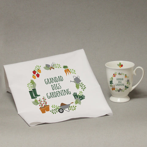 Personalised Digs Gardening Marquee Mug And Tea Towel Set - ClothesLabels.UK