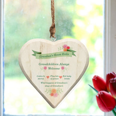 Grandparents House Rules Wooden Hanging Heart - ClothesLabels.UK
