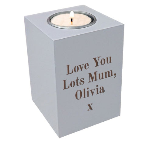 Personalised White Wood Tea Light Holder