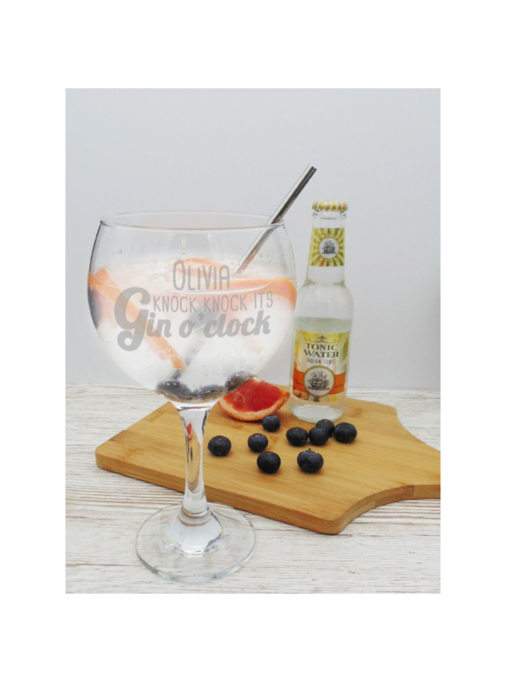Personalised Gin O'Clock with Stainless Steel Straw - ClothesLabels.UK