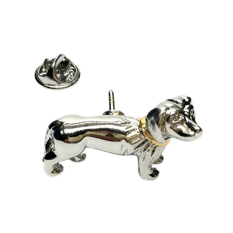 3D Dachshund with Gold Collar Lapel Pin - ClothesLabels.UK