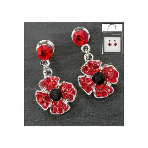 Equilibrium Silver Plated Dangly Poppy Earrings