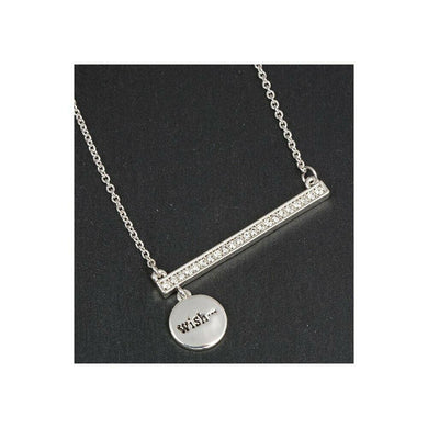 Equilibrium Silver Plated Sparkle Bar Charm Necklace – Wish - ClothesLabels.UK