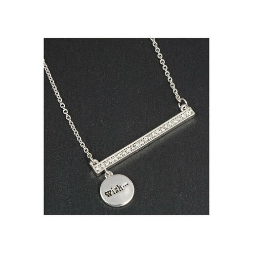 Equilibrium Silver Plated Sparkle Bar Charm Necklace – Wish
