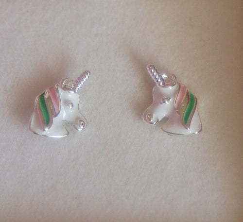 Equilibrium Silver Plated Unicorn Stud Earrings Pink Green Mane
