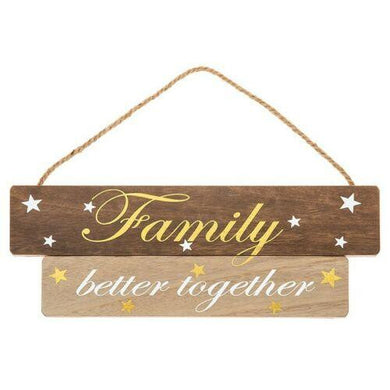 Golden Words Family Better Together Wood Sign