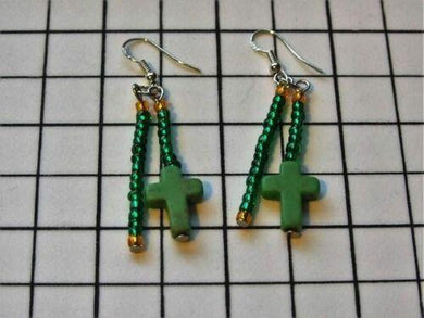 Green and Orange Seed Bead with Cross on 925 Sterling Silver Earwires - ClothesLabels.UK