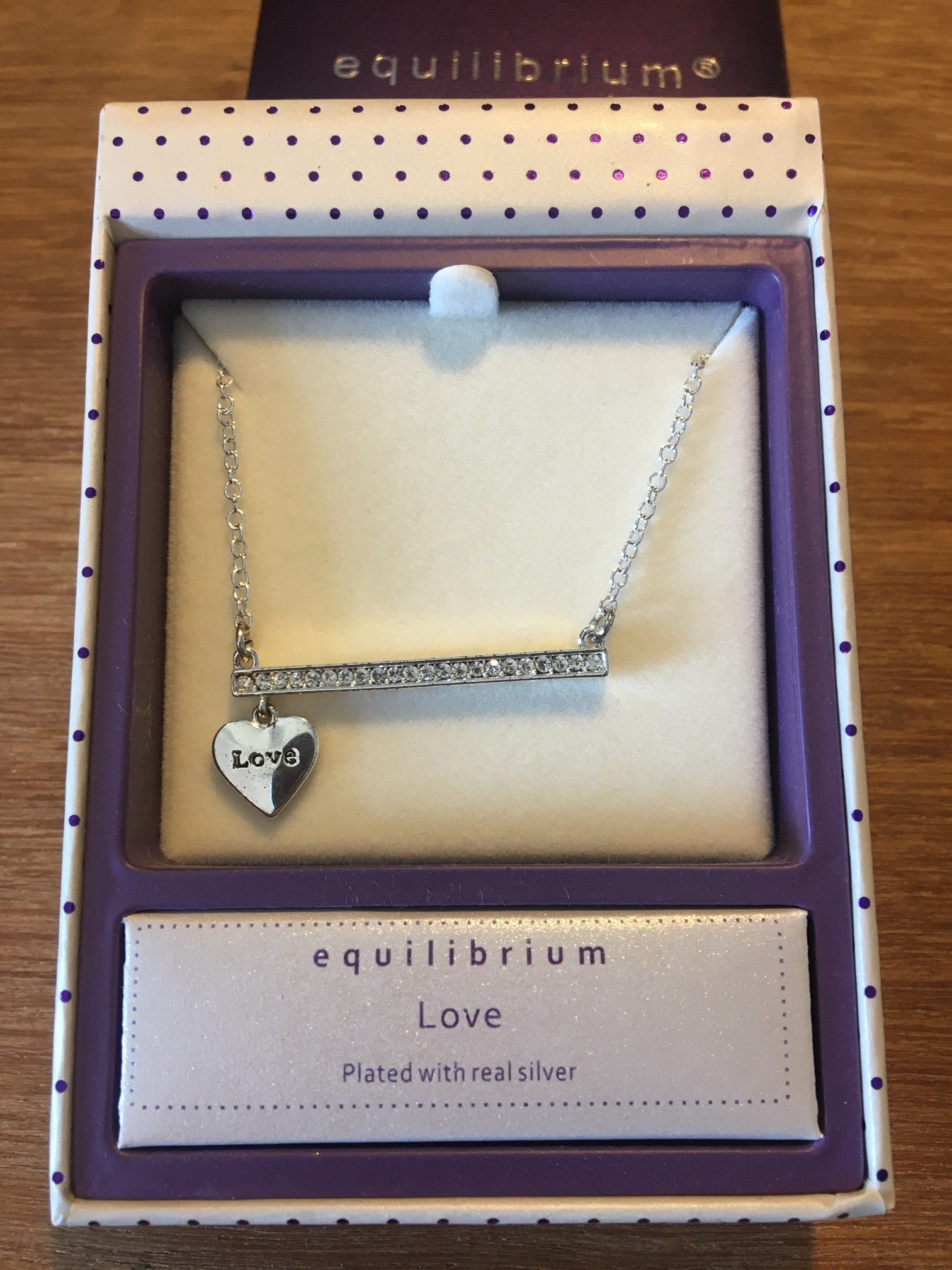 Equilibrium Silver Plated Sparkle Bar Charm Necklace – Love - ClothesLabels.UK