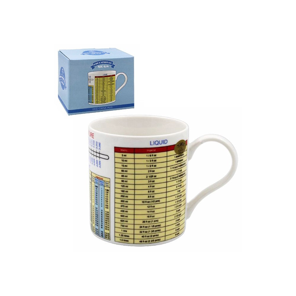 Weights and Measures Tea Coffee Educational Novelty Mug Gift Boxed Fine China - ClothesLabels.UK