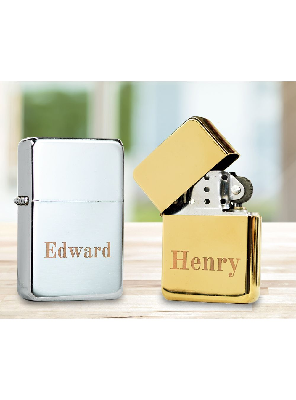 Personalised Stainless Steel Lighter Chrome or Gold Finish - ClothesLabels.UK