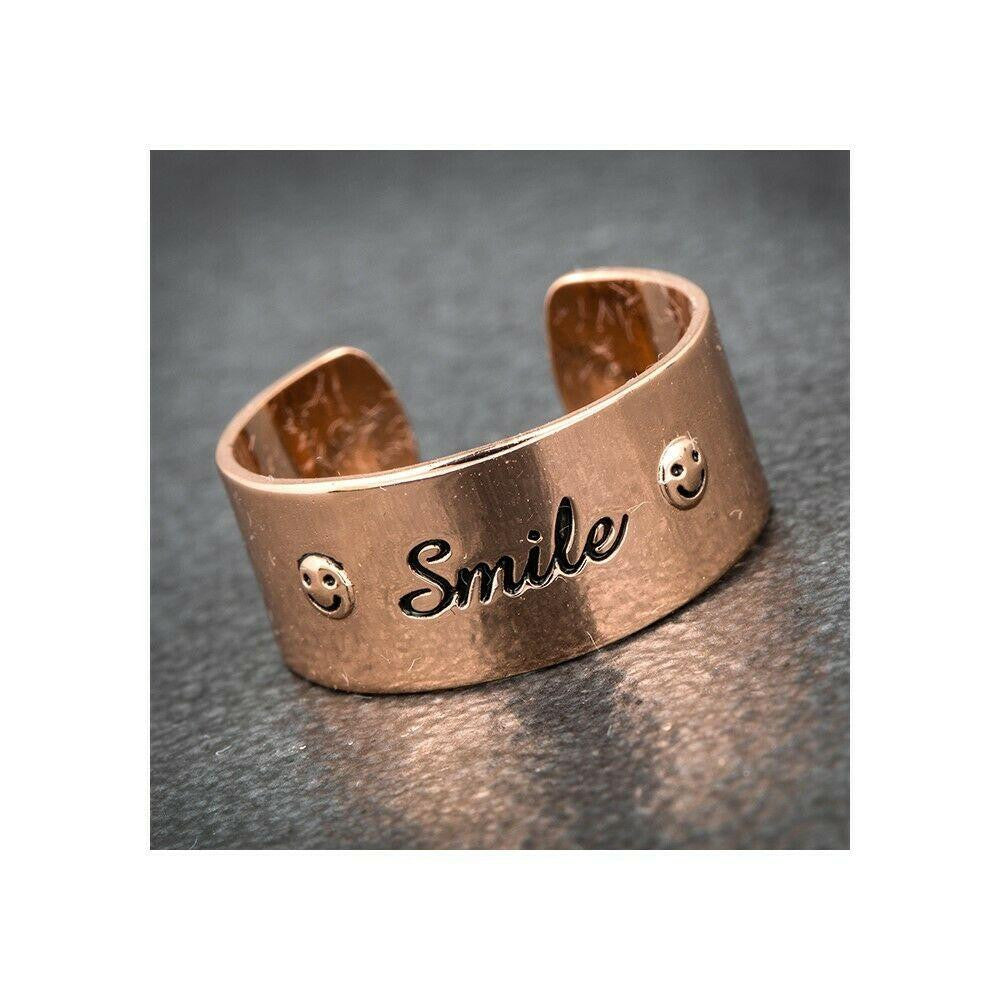 Equilibrium Rose Gold Plated Elegance Slim Ring Smile + Free Charm - ClothesLabels.UK