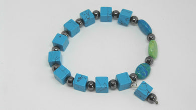 Turquoise and Hematite Stretchy Bracelet