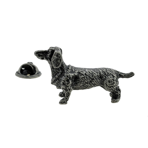 Antique Finish Pewter Dachshund Lapel Pin Badge - ClothesLabels.UK
