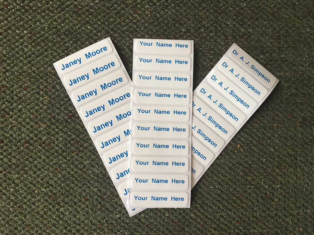 Washproof Pre-Cut Blue Print Iron-on Clothes Name Tag Labels For Uniform Nursery Etc