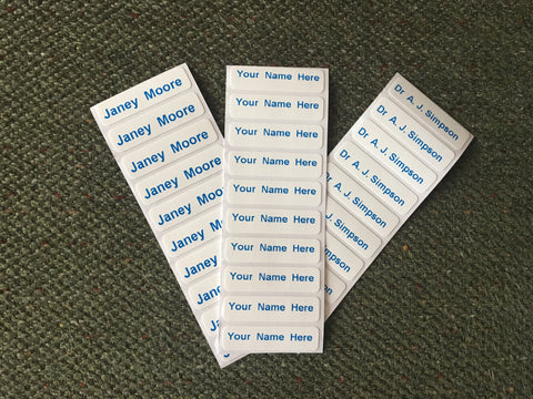 Washproof Pre-Cut Blue Print Iron-on Clothes Name Tag Labels For Uniform Nursery Etc - ClothesLabels.UK