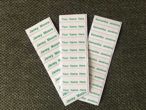 Washproof Pre-Cut Green Print Iron-on Clothes Name Tag Labels For Uniform Nursery Etc - ClothesLabels.UK