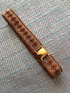 Sienna Brown Diamond and Gold Seed Bead Bracelet - ClothesLabels.UK